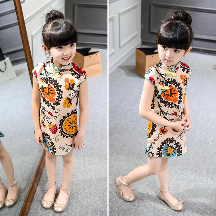 【女童夏款中国风短袖裙】-母婴-连衣裙
