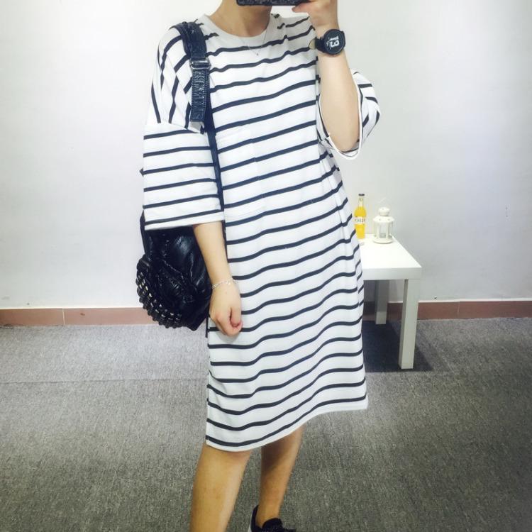 【条纹宽松t恤裙】-衣服-服饰鞋包