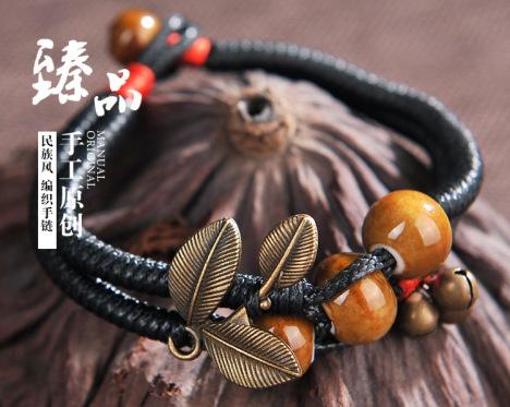 新款景德镇陶瓷编织手链 民族风饰品 苗银雕花手链 女式手链