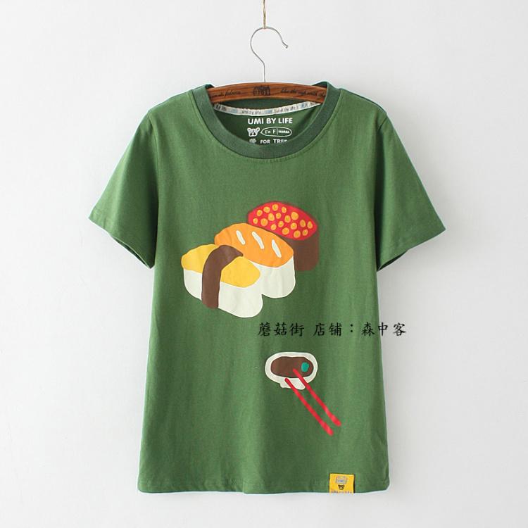 2016日系小清新可爱甜美学院风复古原宿手绘童趣短袖t恤