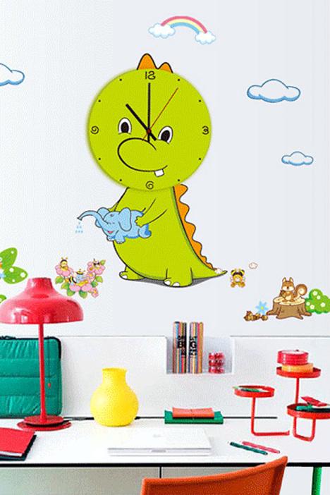 【可爱小恐龙墙贴动物乐园钟表贴儿童房装饰创意时钟