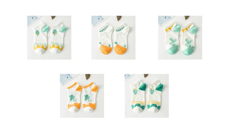 认真穿袜子の复古日系韩国手绘甜美卡通仙人掌纯棉女船袜短袜