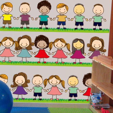 可爱小朋友 手拉手幼儿 园开学墙贴画卡通小孩客厅卧室墙贴防水贴纸-图片