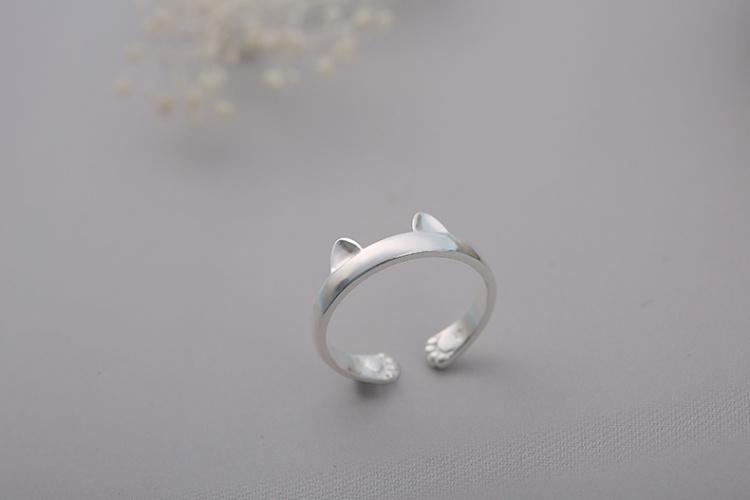 925银简约可爱猫咪戒指