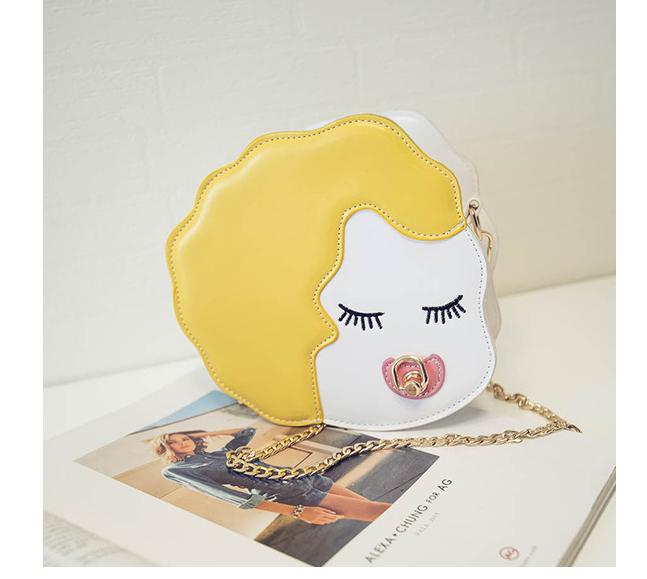 【【点点包】新款链条卡通女人头像可爱小圆包】