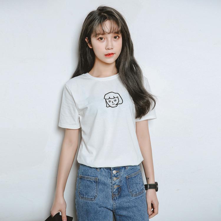 韩国夏季新款简约百搭学院风刺绣小女孩头像短袖打底t恤衫女