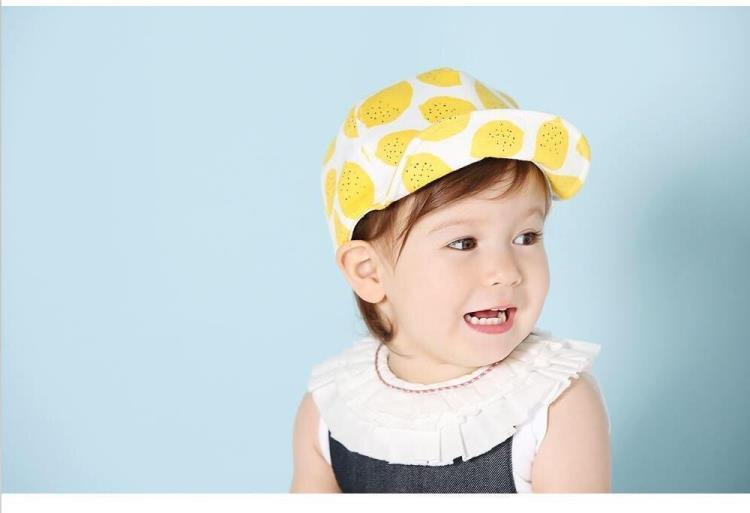 韩国宝宝水果帽子软檐帽儿童学院风可爱柠檬遮阳