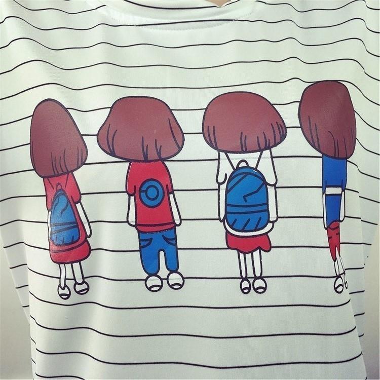 夏季韩版卡通四个小女孩背影印花条纹学生女上衣长(短)袖t恤