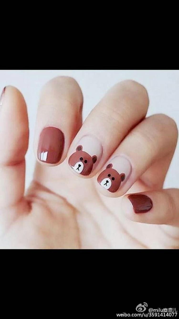 韩系 可爱小熊卡通美甲