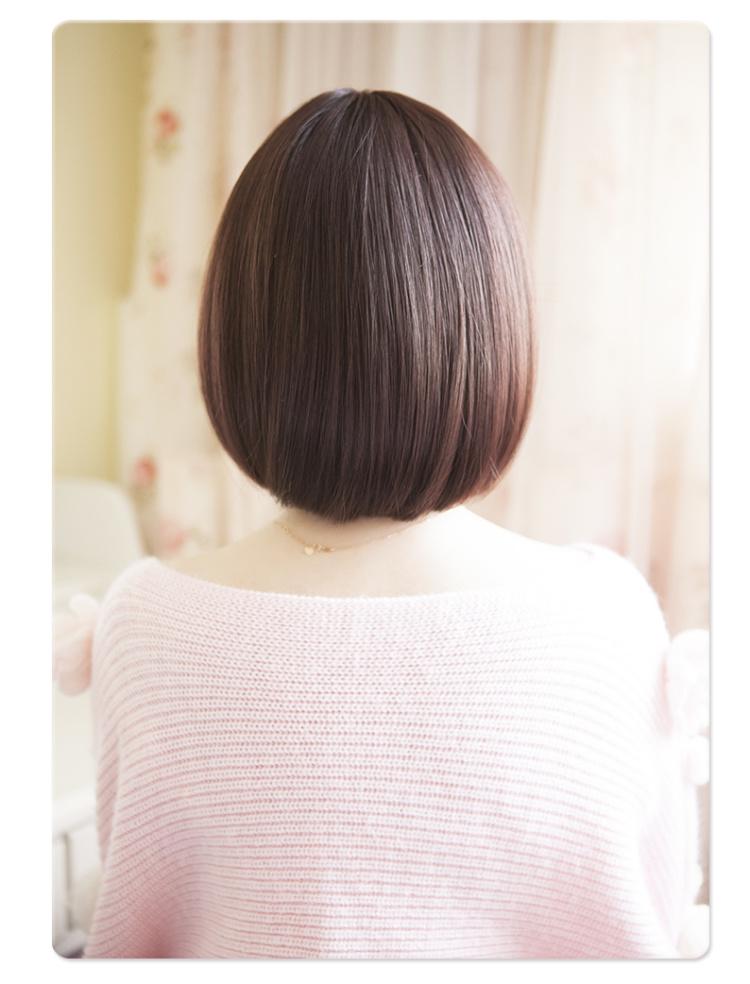 齐刘海短发bobo头假发女 空气超薄刘海 短发 韩国短发女图片