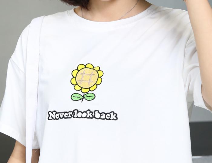 向日葵花朵刺绣短袖t恤