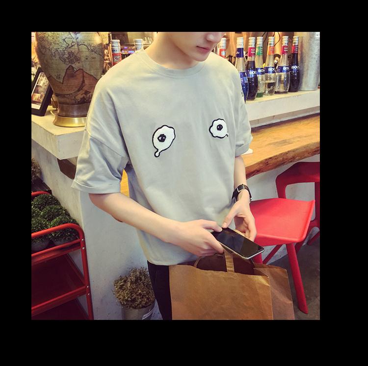 2016夏季新款韩版大眼睛可爱圆领短袖t恤男
