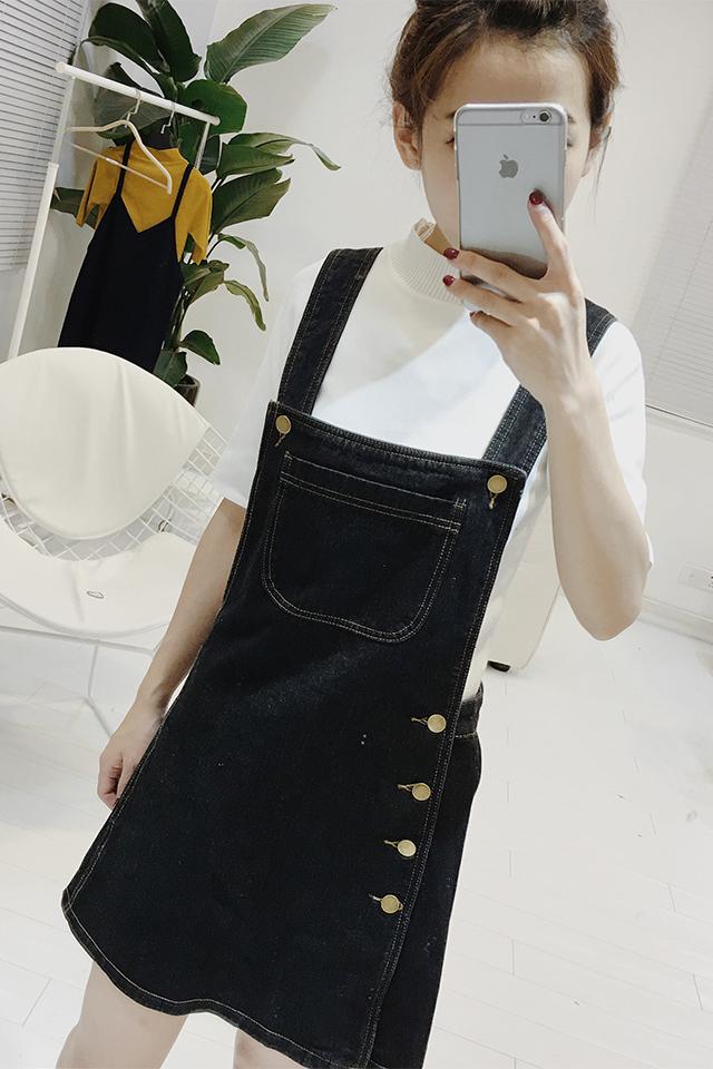 春夏新款韩版牛仔背带裙大口袋黑色休闲款