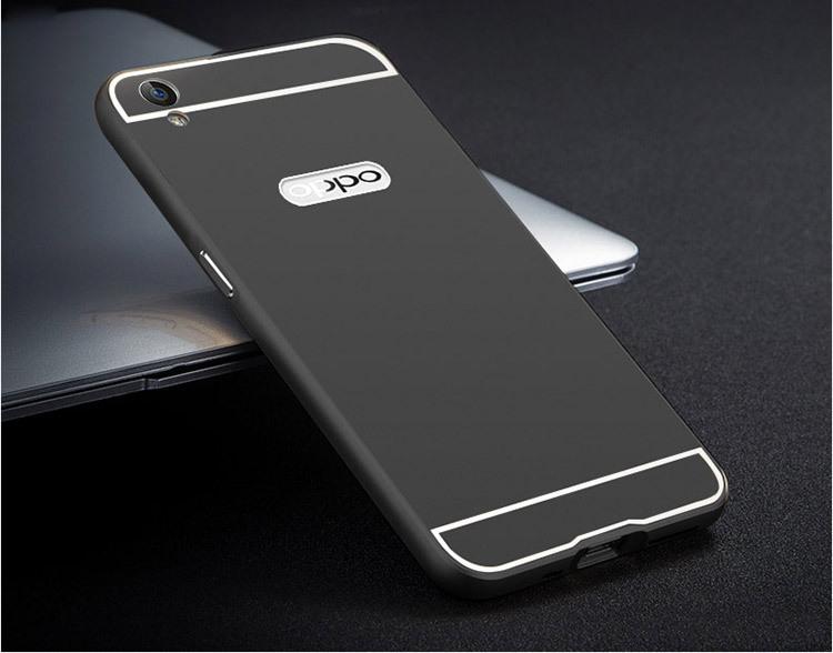 【oppor9手机壳【送钢化膜】手机套金属边框后盖壳】