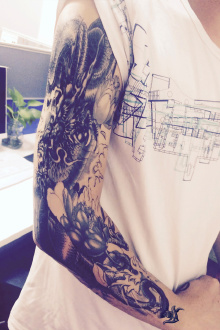 【买2送1】刺青色满臂黑龙半甲大花臂纹身贴
