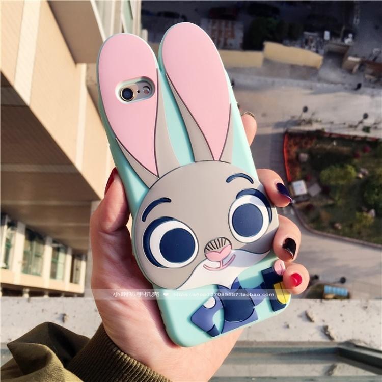 【动物城朱迪兔全包立体软胶iphone苹果手机壳】