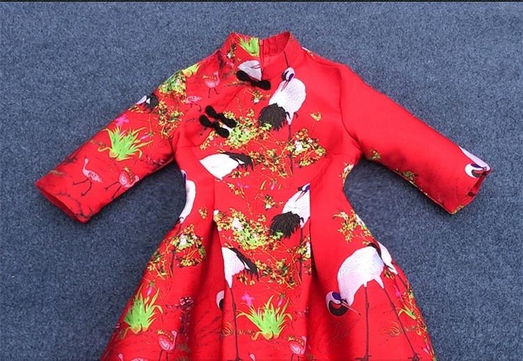仙鹤红色旗袍连衣裙