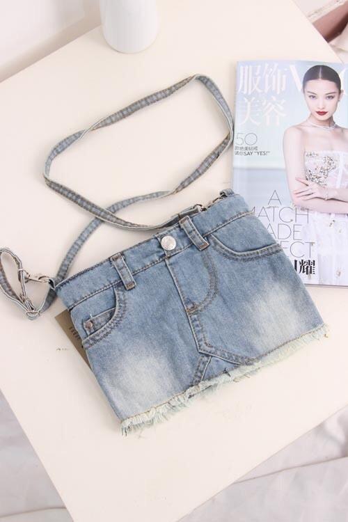 杂志款水洗创意时尚小女生牛仔裤斜挎包百搭休闲包包