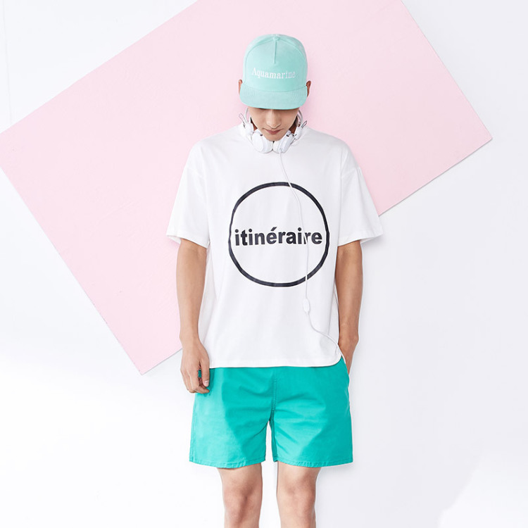 【夏韩版潮男小清新圆圈英文印花圆领短袖t恤】-男装