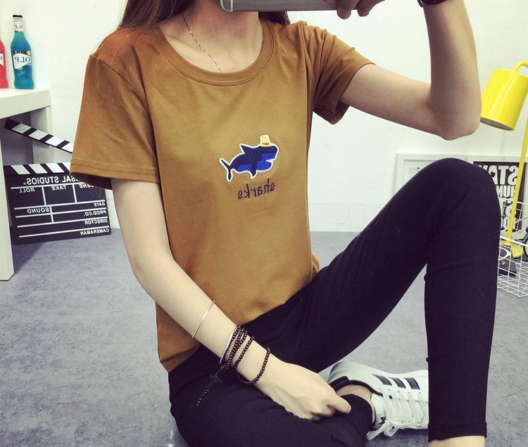609# 2016夏季新款宽松韩版鲨鱼绣花短袖t恤 实拍