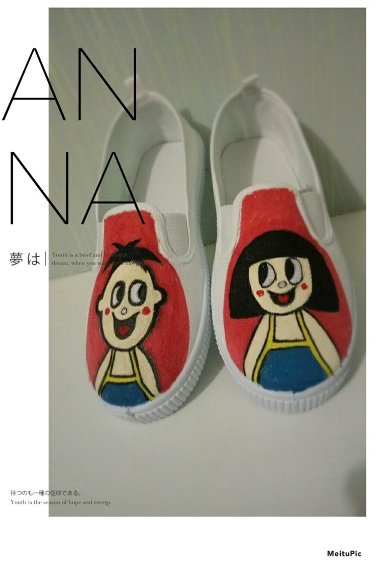 帆布鞋小白鞋手绘情侣旺仔