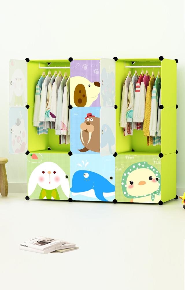 【宜薇格时尚简易卡通树脂衣柜学生宿舍组装衣柜】