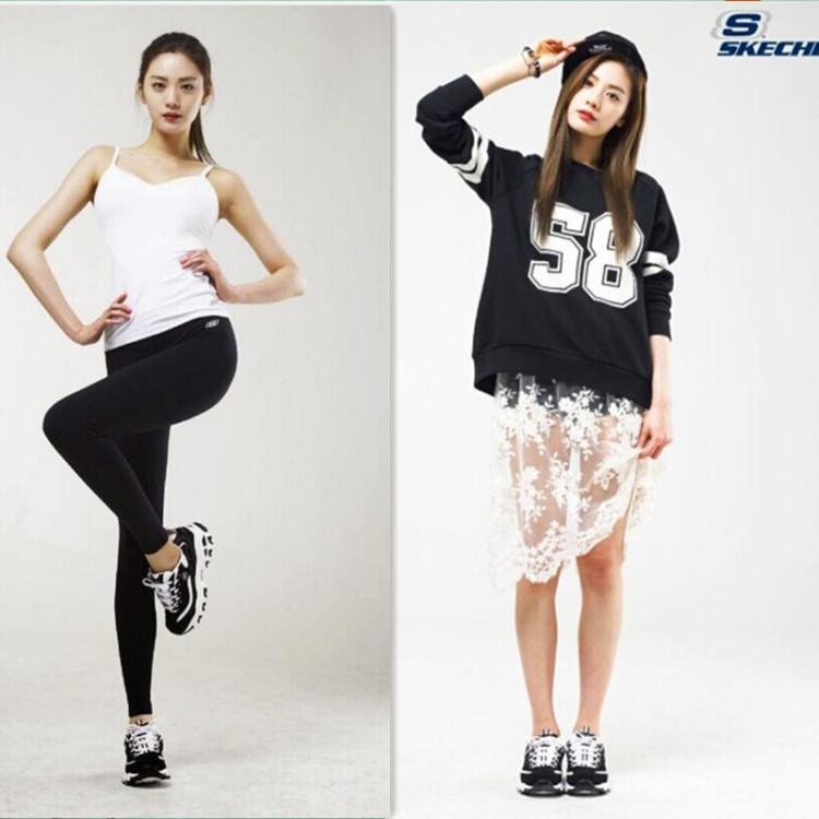 【2016斯凯奇熊猫女鞋黑白韩版内增高跑步运动鞋男女