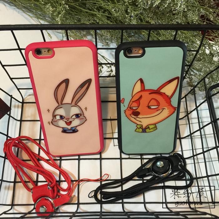 【疯狂动物城iphone5s/6s/plus手机挂绳情侣软壳包】