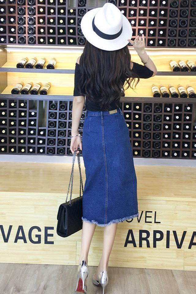 夏新款 韩版时尚露肩针织衫 牛仔半身裙套装