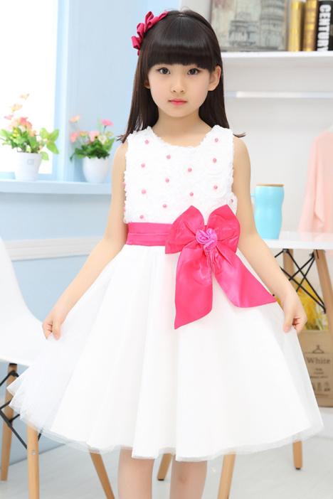 裙子甜美花朵蕾丝花边公主连衣裙儿童吊打背心裙女孩