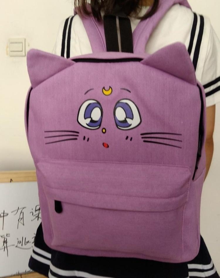 简约情侣日文印花帆布学生双肩背书包图片