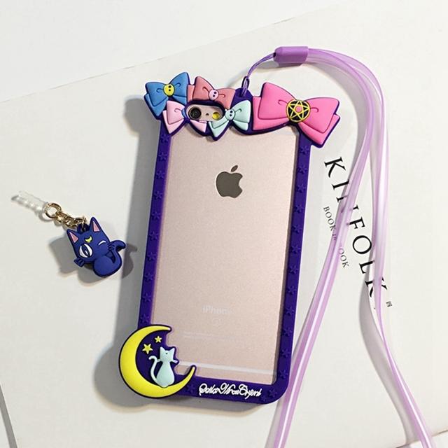 【可爱美少女战士边框iphone6手机壳苹果6plus挂绳软
