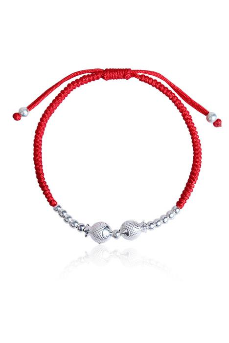 雍喜珠宝 纯银年年有鱼手链女 本命年红绳转运珠手链脚链