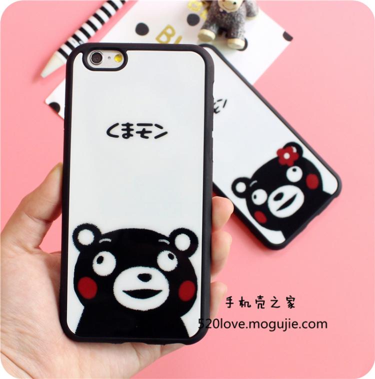 iphone5s/6s/6p情侣熊本黑白硅胶撞色可爱手机壳