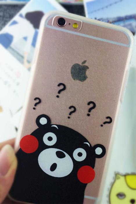 送挂绳 iphone5/6/6p 熊本熊 可爱透明手机壳