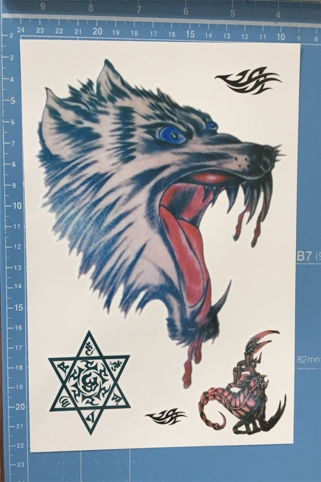 狼头纹身贴 滴血狼头胸前防水纹身贴 花臂