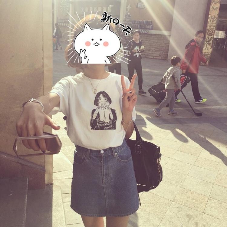 【百搭动漫人物头像素描短袖t恤女】-衣服-服饰鞋包