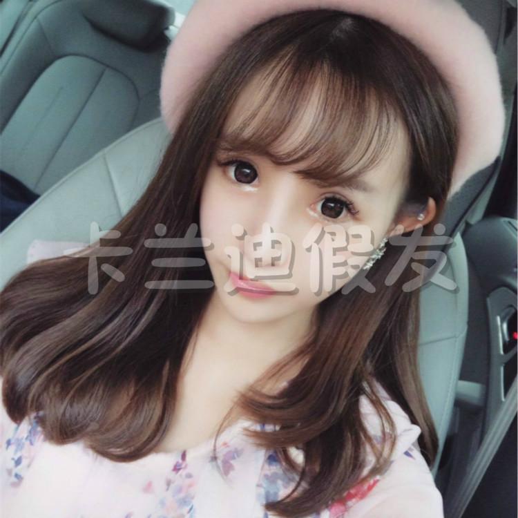韩国假发女长直发逼真空气刘海梨花头微卷内扣中长发可爱学生发型