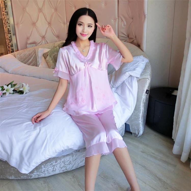 【丝滑享受】短袖女士v领蕾丝睡衣两件套家居服套装图片