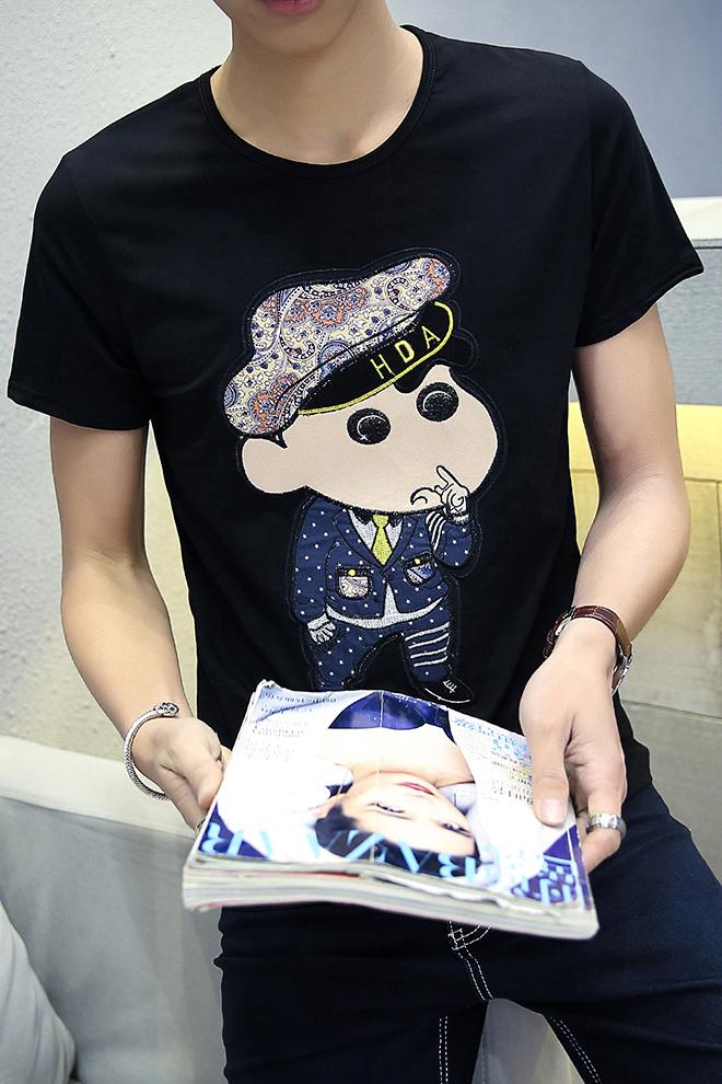 【刺绣蜡笔小新卡通图案短袖t恤】-男装-t恤