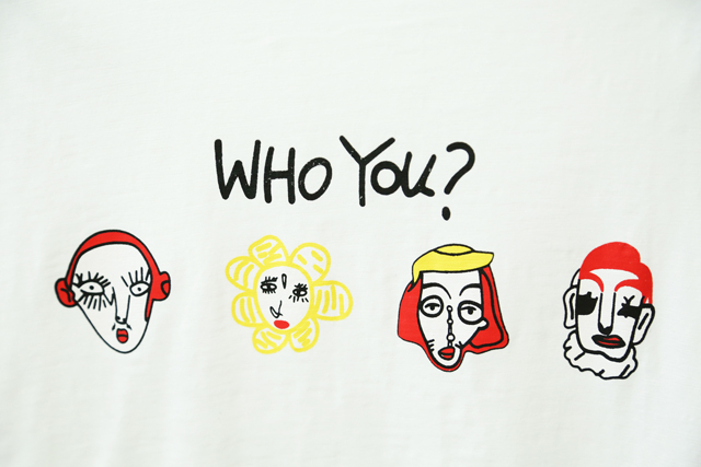 【字母印花who you四个头像短袖t恤】-衣服-服饰鞋