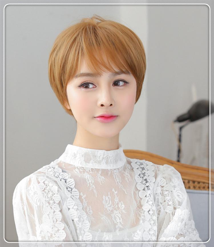 韩国女短发 短卷发 女生假发她很漂亮 bobo短直发碎发帅气