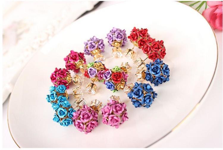 花球水晶珍珠时尚气质长款韩国韩版耳坠耳饰耳环耳钉