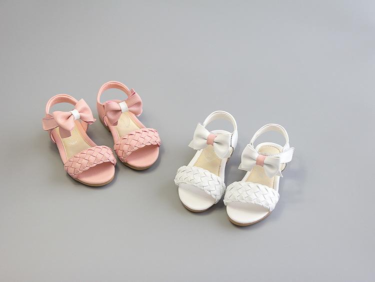 夏季新款真皮编织蝴蝶结女童凉鞋♀小鱼儿鞋铺♂
