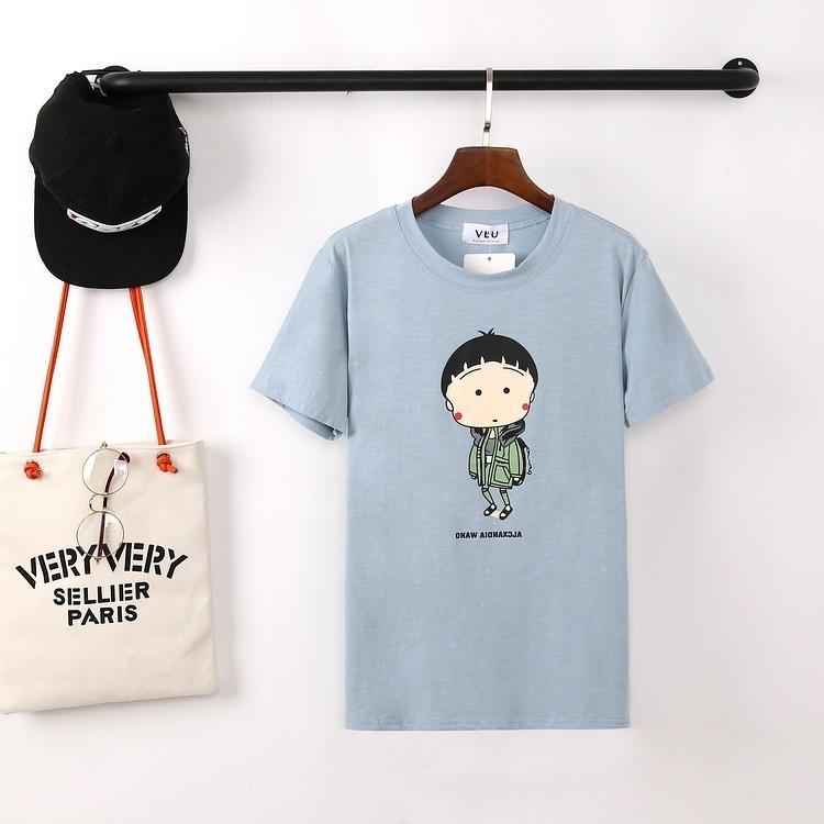 韩版时尚新款可爱小丸子印花竹节棉修身t恤