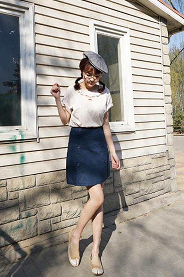 】原宿风花边心形镂空短袖t恤】-衣服-服饰