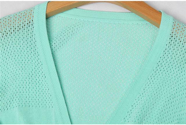 欧洲站 春装新款欧美纯色镂空修身花样针织衫女开衫v领长袖
