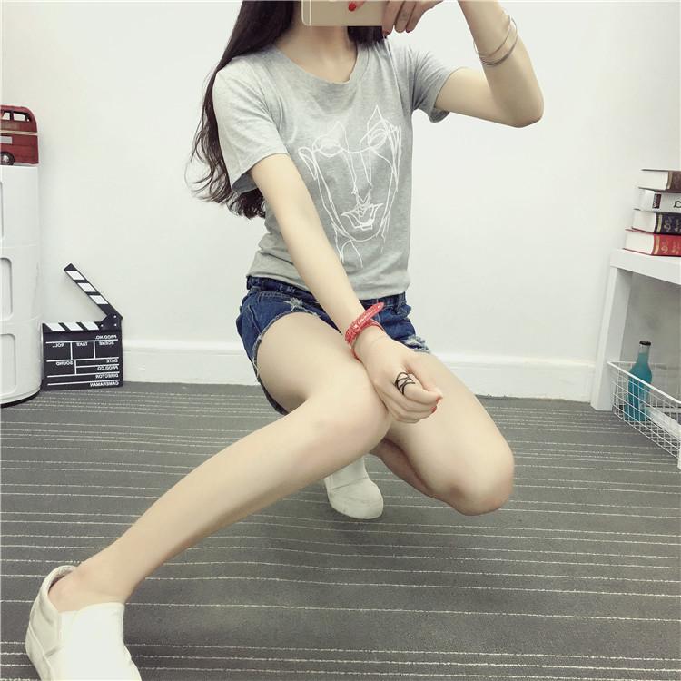 【纯棉好质量】实拍韩版时尚艺术简画头像宽松大码短袖t恤