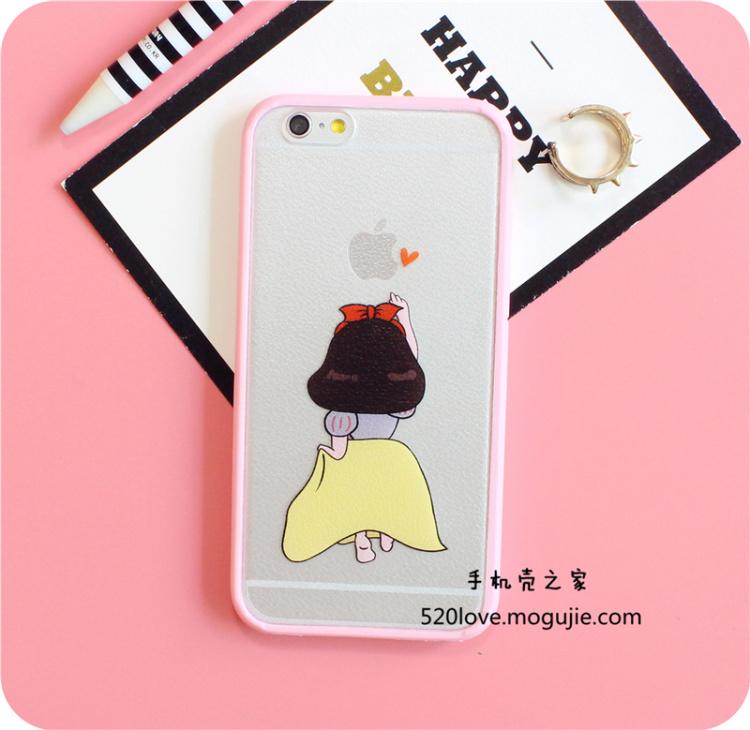【粉嫩边框卡通爱丽丝iphone6s白雪公主背影6sp手机