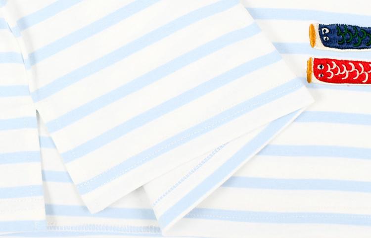 日系原宿小鱼刺绣图案蓝色条纹短袖t恤